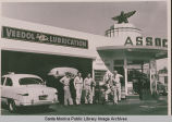 """Flying A"" service station with a group of workers out front, Pacific Palisades, Calif."