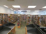 Nonfiction and fiction shelves in the Fairview Branch Library (2101 Ocean Park Blvd.), May 2,...