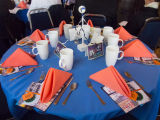 Table setting featuring Santa Monica Public Library Image Archives postcards at the Boards and...