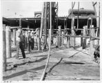 Workers at the construction site of Pacific Ocean Park's Sea Circus attraction, Santa Monica,...