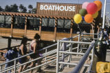 People outside the Boathouse Restaurant on Santa Monica Pier.