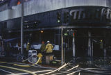 Firefighters battling a blaze at Thrifty Drug Store at 326 Wilshire Blvd.